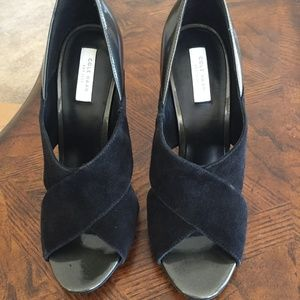 Black and Grey Cole Haan Peep Toe Pumps Size 7